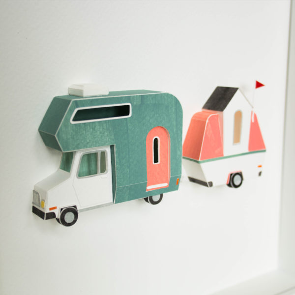 Framed papercraft artwork